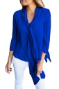 Sapphire Blue Bow-Tie Sleeved Blouse With Necktie