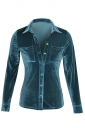 Turndown Collar Pocket Buttoned Front Long Sleeve Blouse Turquoise
