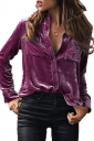 Turndown Collar Pocket Buttoned Front Long Sleeve Blouse Ruby