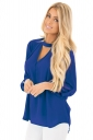 Women Sexy Choker V-Neck Cut Out Keyhole Back Long Sleeve Blouse Blue