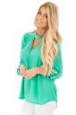 Women Sexy V-Neck Cut Out Keyhole Back Long Sleeve Blouse Turquoise