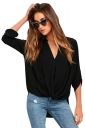 Sexy V-Neck 3/4 Length Button-Up Sleeve High Low Blouse Black