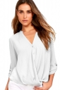 Sexy V-Neck 3/4 Length Button-Up Sleeve High Low Blouse White
