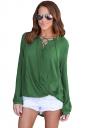 V-Neck Lace Up Long Sleeve Knotted Asymmetrical Hem Blouse Green
