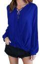 V-Neck Lace Up Long Sleeve Knotted Asymmetrical Hem Blouse Sapphire Blue