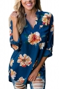 Womens V-Neck Floral Printed 3/4 Length Sleeve High Low Blouse Blue