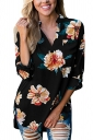 Womens V-Neck Floral Printed 3/4 Length Sleeve High Low Blouse Black