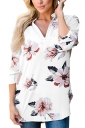 Womens V-Neck Floral Printed 3/4 Length Sleeve High Low Blouse White