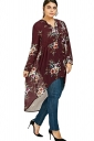 V-Neck Long Sleeve Plus Size High Low Floral Printed Blouse Ruby