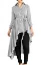 Womens Lapel Strip Belt High Low Ruffle Long Sleeve Blouse Gray