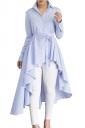 Womens Lapel Strip Belt High Low Ruffle Long Sleeve Blouse Light Blue
