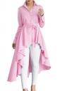 Womens Lapel Strip Belt High Low Ruffle Long Sleeve Blouse Pink