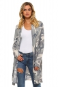 Womens Camouflage Printed Long Sleeve Cardigan Green