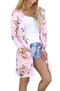 Womens Flower Printed Open Front Cardigan With Pocket Pink