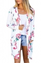 Womens Flower Printed Open Front Cardigan With Pocket White