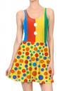 Women Halloween Clown Dot Printed Tank Skater Dress Yellow