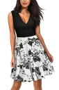 Sexy V Neck Flower Print Sleeveless Fit And Flare Dress Black