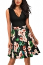 Vintage V Neck Flower Print Sleeveless Fit And Flare Dress Black