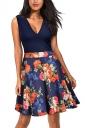 Vintage V Neck Flower Print Sleeveless Fit And Flare Dress Multicolor