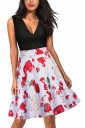 Sexy V Neck Cherry Print Sleeveless Fit And Flare Dress Red