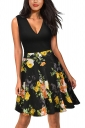 Vintage V Neck Flower Print Sleeveless Fit And Flare Dress Yellow