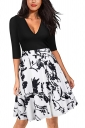 White And Black 3/4 Sleeve V Neck Flower Print Fit And Flare Dresses