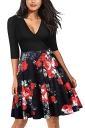 Sexy 3/4 Sleeve V Neck Flower Print Fit And Flare Dresses Black