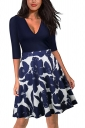 Sexy 3/4 Sleeve V Neck Flower Print Fit And Flare Dresses Navy Blue