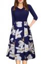 Sexy 3/4 Sleeve Flower Print Knee Length Midi Dresses Blue