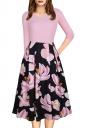 Sexy 3/4 Sleeve Flower Print Knee Length Midi Dresses Pink