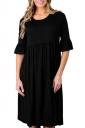 Black 3/4 Sleeve Casual Knee Length Skater Dresses