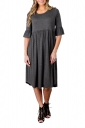 Gray 3/4 Sleeve Casual Knee Length Skater Dresses