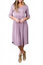 Purple 3/4 Sleeve Casual Knee Length Skater Dresses