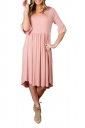 Pink 3/4 Sleeve Casual Knee Length Skater Dresses