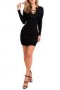 Women V Neck Eyelet Lace Up Knit Sweater Dress Black