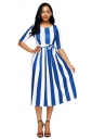 Blue Stripe Print Half Sleeve Belted Skater Dress