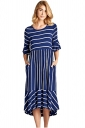 Navy Blue White Striped Bell Sleeve Hi-Low Midi Dress
