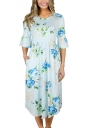 Women Crew Neck Flare Sleeve Floral Printed Midi Dress Blue