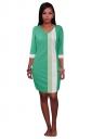 Womens V Neck Color Block Patchwork 3/4 Sleeve Shift Dress Light Green