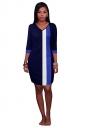 Womens V Neck Color Block Patchwork 3/4 Sleeve Shift Dress Navy Blue