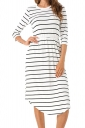 Womens Casual Half Sleeve Stripe Tunic Skater Dress White