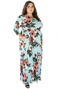 Womens Plus Size Floral Printed Tunic Long Sleeve Maxi Dress Blue