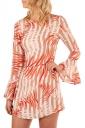 Womens Flare Long Sleeve Printed Tunic Mini Shift Dress Orange Red