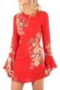Womens Flare Long Sleeve Printed Tunic Mini Shift Dress Red