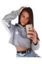 Sexy Letters And Lips Printed Draw String Crop Hoodie Gray