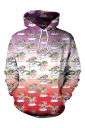 Women Unicorn Printed Draw String Front Pocket Pullover Hoodie Red