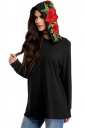 Women Flower Embroidered Pullover Hoodie Black