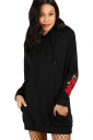 Women Oversize Rose Embroidered Kangaroo Pocket Hoodie Black