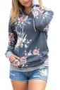 Women Floral Printed Long Sleeve Pocket Pullover Hoodie Dark Gray