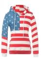 Women American Flag Printed Drawstring Hoodie Red